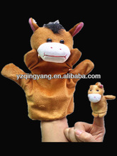 Hot sale stuffed animals soft plush brown horse hand puppet and finger toys for children