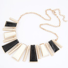 Gold exaggerate white/black square crystal/gemstone vertical bar statement Necklace fashion Character design jewelry wholesale