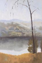 alberi accanto a fiume descrizione della pittura ad olio per la decorazione domestica