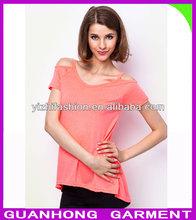 fashion Cold Shoulder Tee popular style women t-shirt 2014