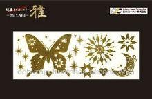 Miyabi pure gold leaf temporary tattoo seal made in Japan shine design