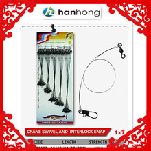 15/18/22/25/28cm with crane swivel and interlock snap stainless steel wire leader for fishing