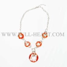Murano glass&metal handmade round orange necklace women accessories glass gift