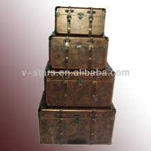 YZ-VS1474 Vintage Leather Antique Wooden Trunk