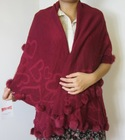 100%ACRYLIC JACQUARD WOVVEN WOMAN SHAWL AND PONCHO WITH BALL TAP