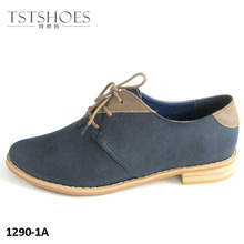 2013 women fashion brogue shoe blue PU lace up shoes