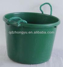 Large plastic animal feeding bucket wiht rope handles