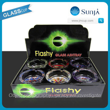 flashy series glass ashtray color box packing 6 in one glass gift ashtray box