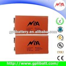 1200mah 6f22 size security alarm battery er9V