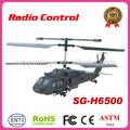 Sg-h6500: helicóptero do rc, black hawk design, 3 canal, giroscópio, completa estrutura de plástico