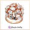 Hot sale latest design ball jewelry ring prong with zircons rose gold plated finger ring