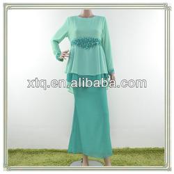 Elegant two layer plain chiffon design baju kurung 2013