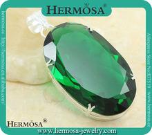 Pretty Emerald Topaz Pendant 925 Silver Fine Jewelry Trend Christmas Gift 2013 160