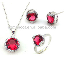 Current Design Red Zircon Stone Pink Coral Necklace Set