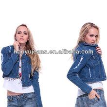 NEW DENIM JACKET LADIES Jean Jackets Womens Cropped jean jacket metal buttons (HYWJ688)