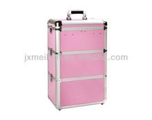 2015 decent Latest top design EVA pink aluminum beauty trolley case