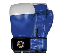 Blue and White Dual Colour Boxing Gloves with Latice and Under Lay Foam