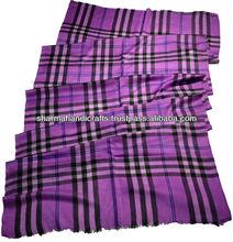 de color púrpura de verificación chales de pashmina