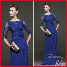 Customized Long Sleeve Handmade Flower Lace Chiffon Royal Blue Evening Dress