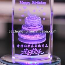 Nice crystal birthday gift with LED base