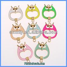 Wholesale Candy Color Gold Enamel Owl DIY Leather Bracelet Connectors OMC-051H