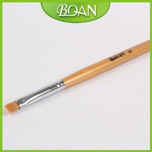 BQAN Golden Wood Handle UV Gel Design Flat Nylon Hair Nail Art Pen and Brush