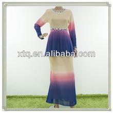 New stylish chiffon beading design baju kurung 2013