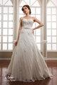 Glamorous strapless império cintura lace e strass a linha ruffles saia vestidos de casamento 2014 até o chão branco nupcial do casamento