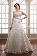 Glamorous strapless empire waist lace and rhinestone a line ruffles skirt wedding dresses 2014 floor length white wedding bridal