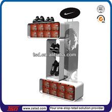 TSD-W622 air Jordan display rack/stackable white MDF painting rack for shoes/basket ball shoe shelf display