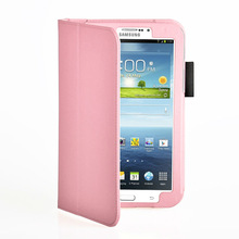 Pink Stand PU Leather Case For Samsung
