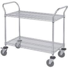 Wire Shelving Mobile Utility Cart - 2 Shelves, 18in.W x 42in.L x 38in.H, Model# WRC-1842-2