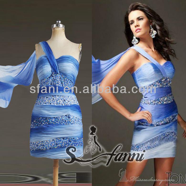 Fashion Design sheath Mini Design One-Shoulder Beaded Chiffon Cocktail Dress
