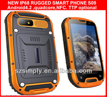 IP68 quad core rugged waterproof cell phone NFC PTT optional S09
