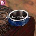 trendy polido de alta açoinoxidável amizade anel de cerâmica azul