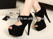 New Women Ladies Black Peep Toe Sandals High Heel Platform Pumps Lace Up
