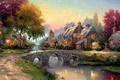 عيد الميلاد لوحات المناظر الطبيعية الجميلة، الأوروبي-- نمط المشهد قرية مهرجاناتالشركات مياه النهر، صور الجدار الديكور المنزل