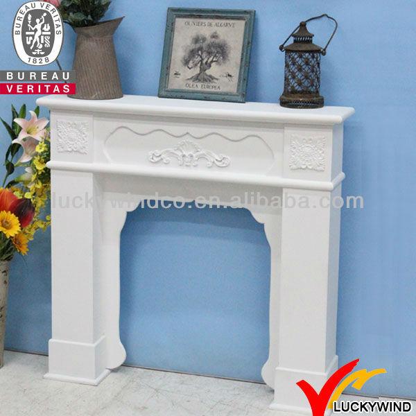 Blanco hermoso shabby chic chimeneas decorativas de madera - Chimeneas de madera decorativas ...