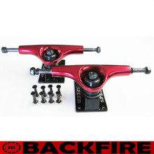 "Backfire 5"" NEW SPEED SKATEBOARD TRUCKS RED/BLACK + 8PCS 1"" HARDWARE SCREWS SET BLACK"