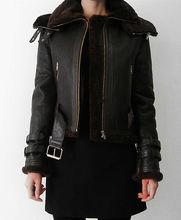 Women Custom Tailor Made FUR Genuine Distressed Leather Biker Jacket