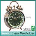 pulgadas 3 la decoración del hogar de mesa de cuarzo metal twin bell alarma reloj de bronce antiguos