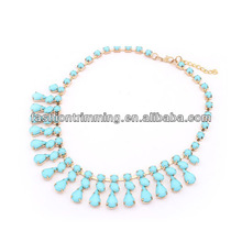 Spring latest women blue resin stone chunky necklace