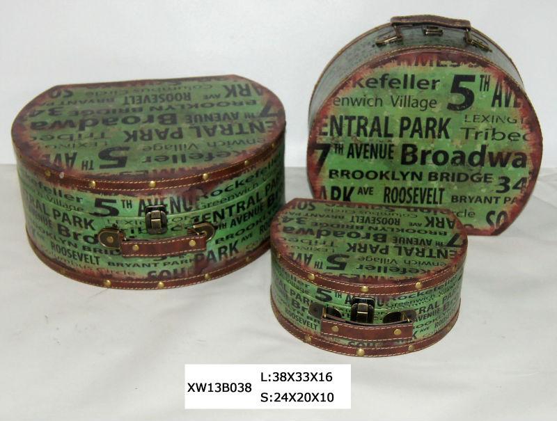 Circular malas / caixa de madeira / caixa de armazenamento / chá caddy / restaurar antigas formas caixa grande