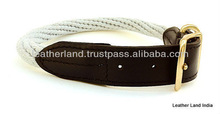100 % Cotton Rope and Leather Dog collar