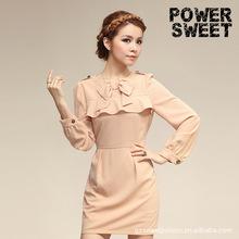 Fance hot vintage style splicing with bowkhot girl bodycon elegant chiffon dress