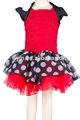 Cuerpo de color rojo vestido, blanco y negro punto bonito vestido de fiesta, falda corta