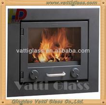 Fireplace glass door, customized borosilicate fire resistant glass