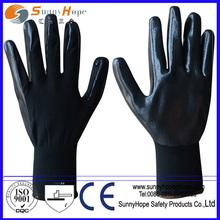 13g nylone smooth finish black nitrile palm glove