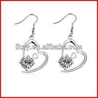 New design zircon crystal heart earrings