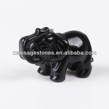 Black Obsidian Carved Elephant/elephant sculpture